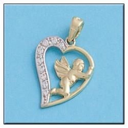 Colgante de Corazon Bicolor San Valentin Oro 1ª Ley