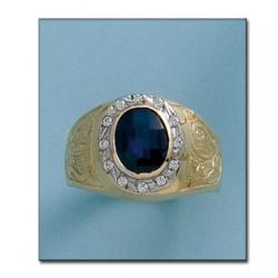 Sello Piedra Azul Caballero Oro 1ª Ley 18Kilates