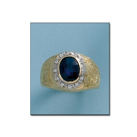 6ab9151acf02 Sello Piedra Azul Caballero Oro 1ª Ley 18Kilates
