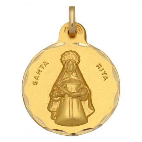 Medalla Santa Rita Oro 1ª Ley 18 Kilates