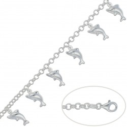 Pulsera Colgantes Delfines Plata 925mm