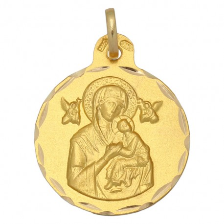 Medalla Perpetuo Socorro Oro 1ª Ley 18 Kilates