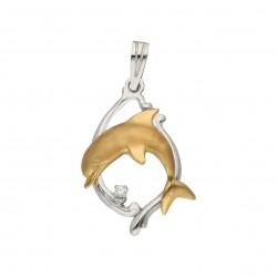 Colgante Bicolor delfin Oro 1ª Ley 18 Kilates