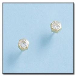 Pendientes Hexagonal Circonita Oro 1ª Ley