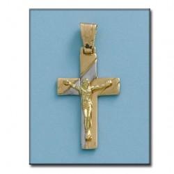 Cruz Cristo Bicolor Comunion Oro 1ª Ley
