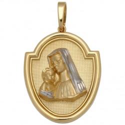 Medalla Virgen Bicolor Oro 1ª Ley 18 Kilates