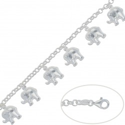 Pulsera Colgantes Elefantes Plata 925mm