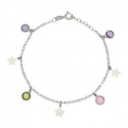 Pulsera Tobillera Estrellas y Piedras Plata de Ley 925mm